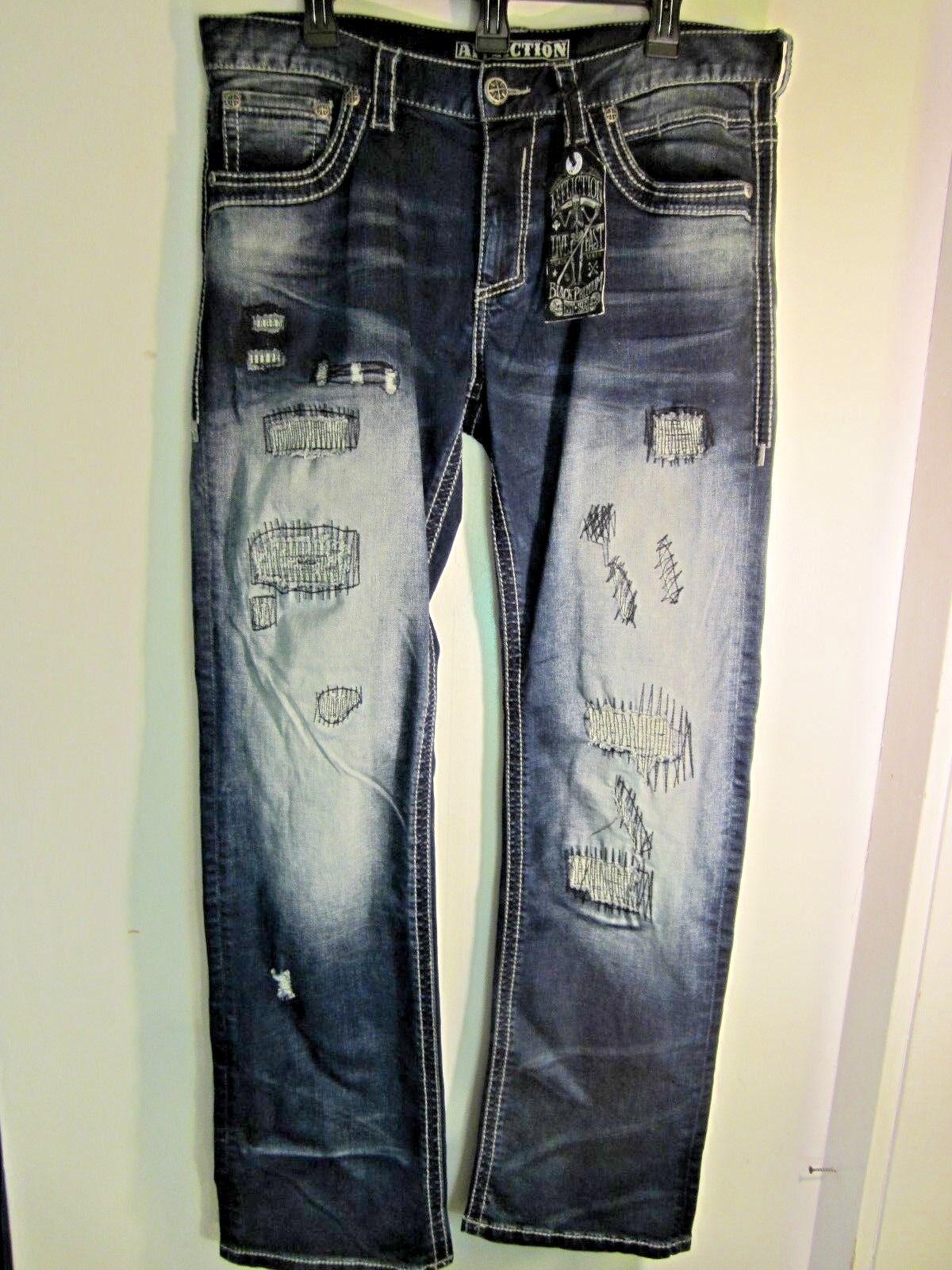 New AFFLICTION MEN'S  Blake Rising Critter Dark Destructed Denim Jeans Sz 34