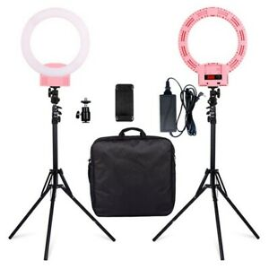 12-034-LED-Ring-Lights-and-2m-Light-Stands-US-Standard-Pink
