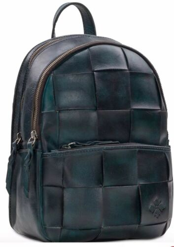 New Patricia Nash Jacini Backpack wash stained leather brass tone bag woven teal