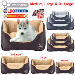 Soft-Pet-Cat-Dog-Basket-Bed-Waterproof-Washable-Deluxe-Fleece-Warm-Comfy-Cushion