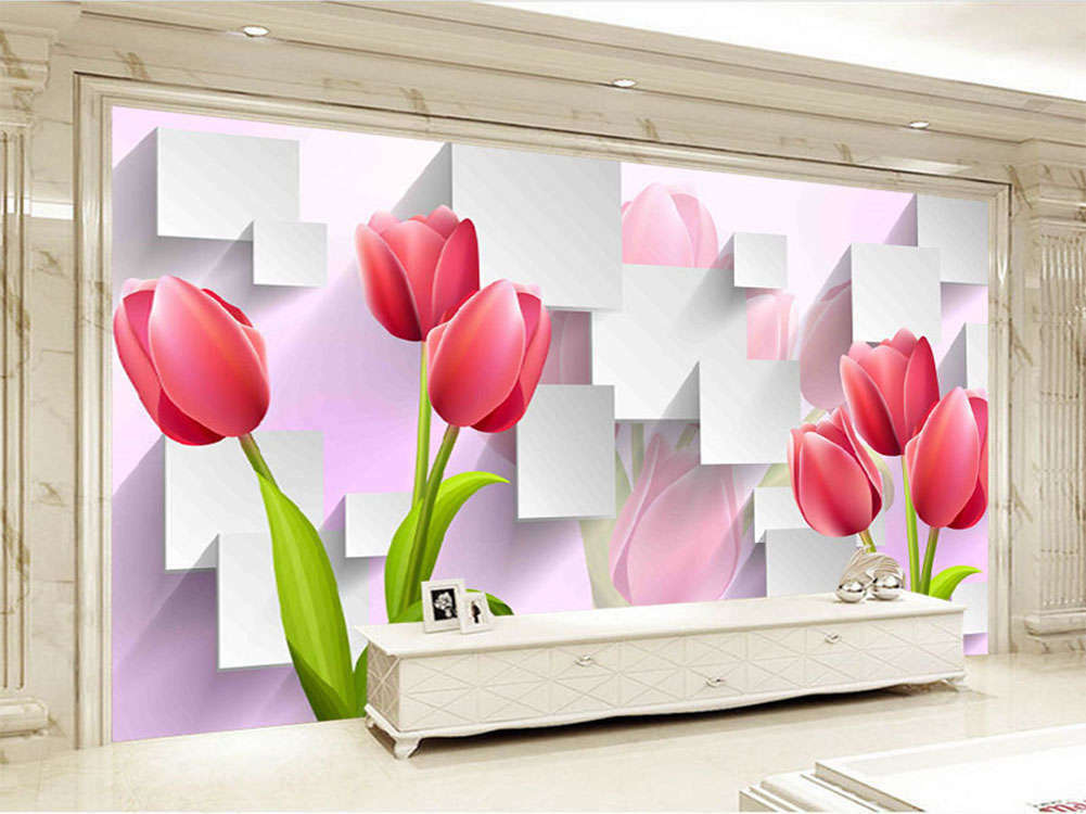 Novel Blooming pinks 3D Full Wall Mural Photo Wallpaper Printing Home Kids Deco