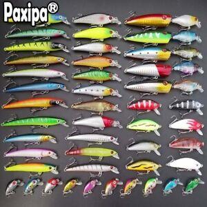 Lot-52-Mixed-Minnow-Fishing-Lures-Bass-Baits-Crankbaits-Sharp-hooks