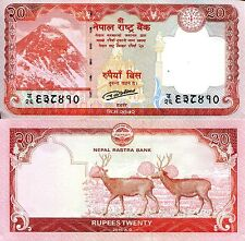 NEPAL 20 Rupees Banknote World Paper Money UNC Currency Pick p-New 2016 Deer