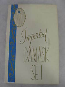 Imported-Damask-Set-Vintage-Tablecloth-6-Napkins-In-Original-Box-48x64-NOS-FL