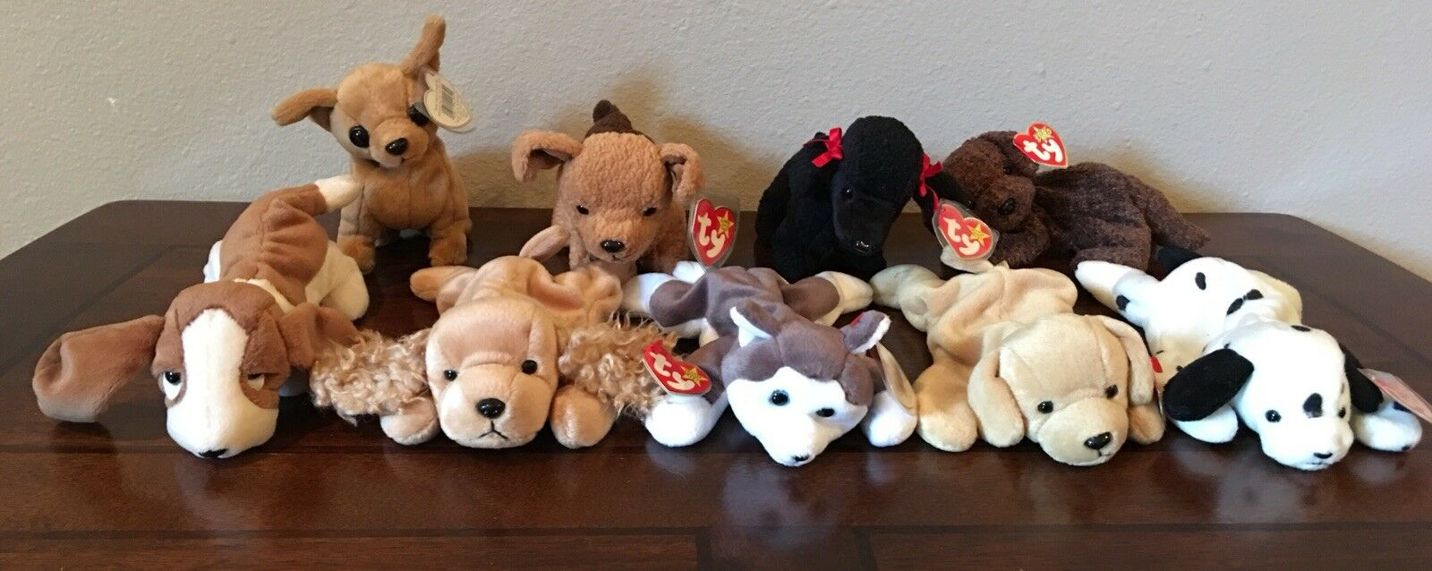 Lot Of 9 Ty Beanie Babies Plush Dogs Excellent Condition