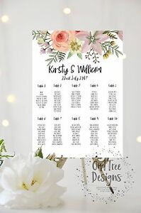 Personalised-Boho-Floreale-Rustico-Wedding-tavolo-piano-Posti-a-Sedere-grafico-A3-A2-A1