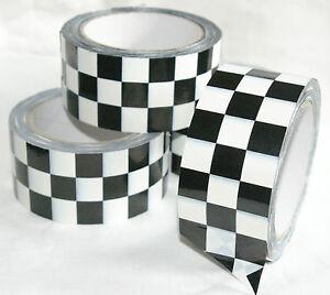 66m 0 17 1m pvc checkered tape schwarz wei kariert klebeband ebay. Black Bedroom Furniture Sets. Home Design Ideas