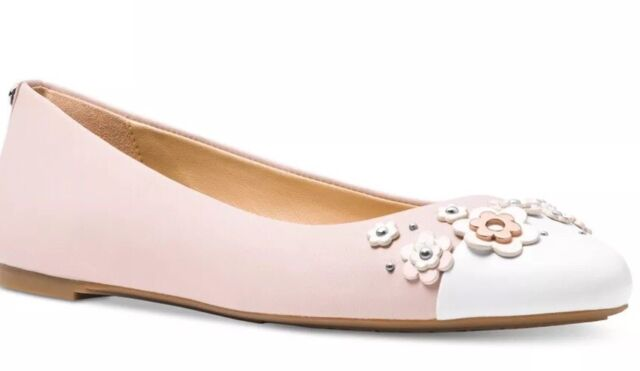 87d1a49a3 New Michael Kors Winslet Ballet Flats floral applique pink cream leather  slip on