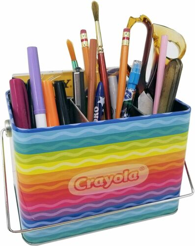 Crayola Caddy Organizer Holder Tin with Handle for Crayons Markers Pens Empty
