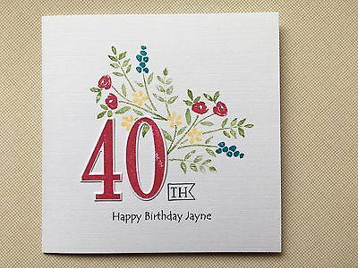 Handmade Personalised Flower Birthday Card 60th 70th 80th 90th etc