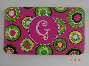 Monogram Metal Frame Clutch Wallet W Nylon Print Polka Dots Letter G Ebay