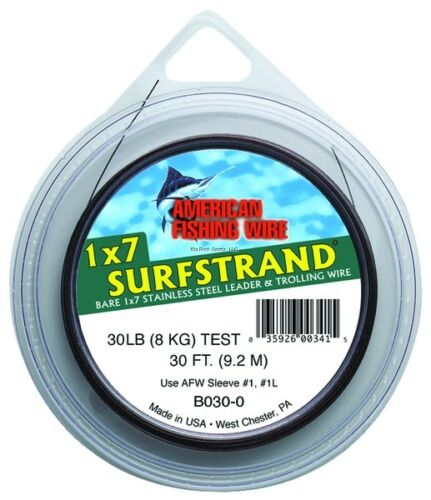NEW! American Fishing Wire Surfstrand Bare 1x7 Stainless Steel Leader Wir B0300