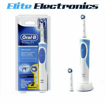 ORAL B VITALITY PRECISION CLEAN RECHARGEABLE POWER ELECTRIC TOOTHBRUSH + 2 BRUSH | eBay