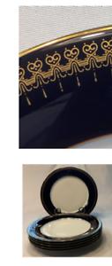 VINTAGE Christineholm Dinner Plates ROMANOV Cobalt Rim Gold 6-Piece Set (1993)