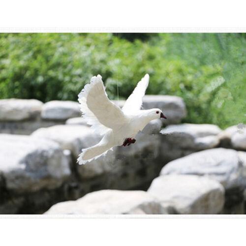 Fake Artificial Feather Bird Dove Open Wings Garden Home Decor Taxidermy #4
