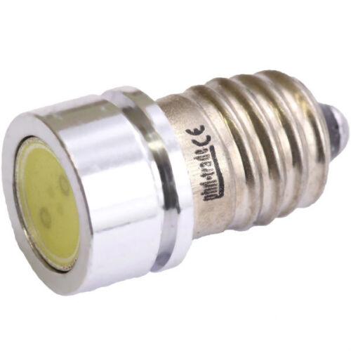 SMD LED E10 Lampe Schraubgewinde 12V Volt Xenon weiss COB Typ 1W Power Fahrrad