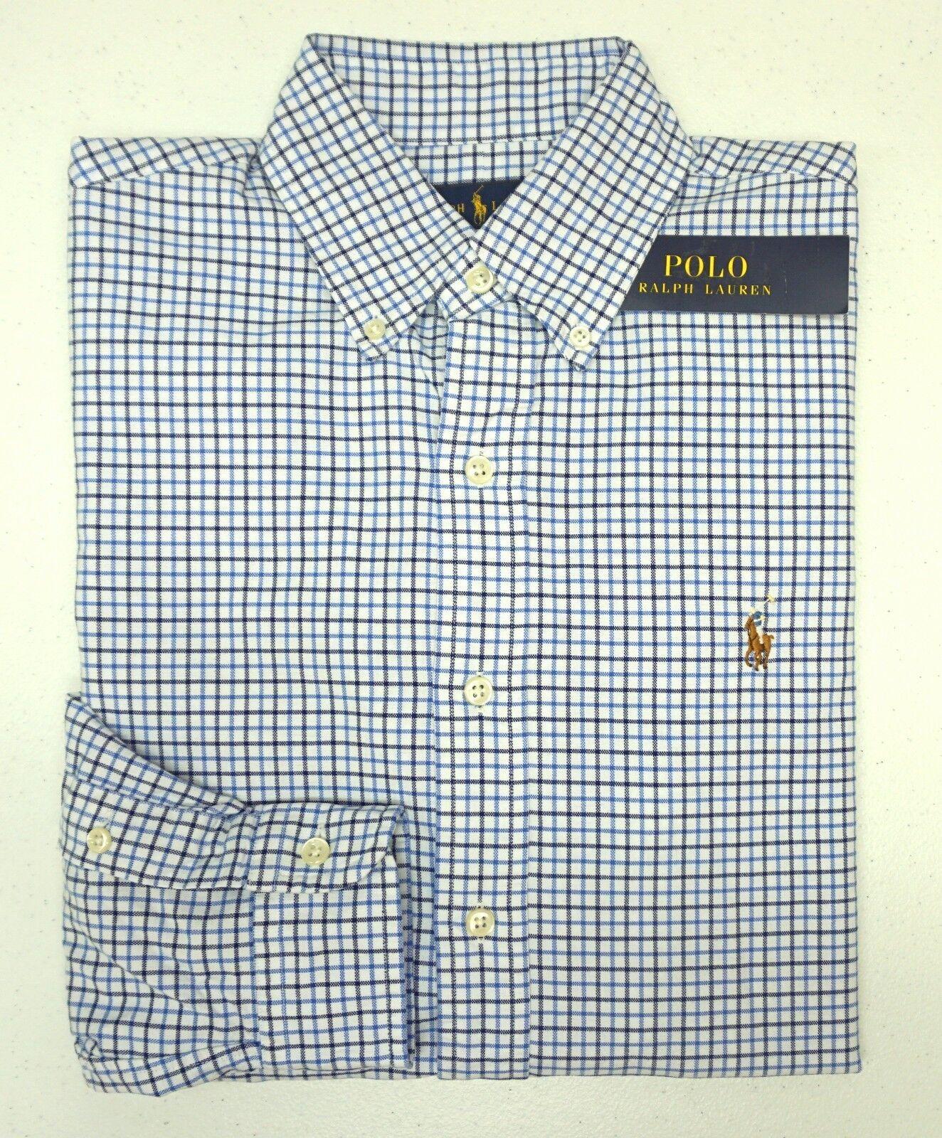 NWT  Polo Ralph Lauren bluee Plaid Shirt Mens Size S XXL Oxford Cotton LS NEW