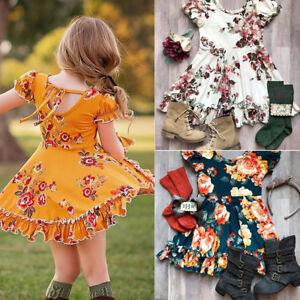 US Kids Baby Girls Dress Summer Sundress Skirt Toddler Short Skater Dresses