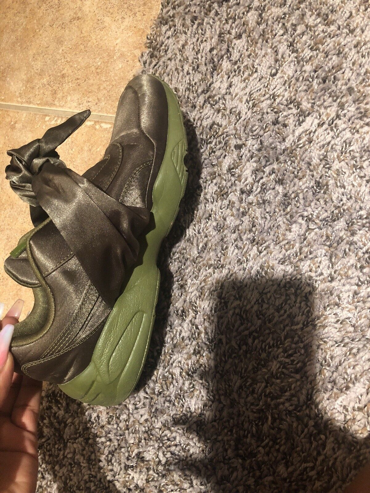 Puma x Fenty By Rihanna Women Bow Sneaker Green/Olive Branch size 7.5 36505404 Seasonal price cuts, discount benefits