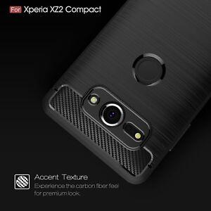 Sony-Xperia-XZ2-Compact-Chocs-Armure-Fibre-de-Carbone-Hybride-Brosse-Etui-Housse