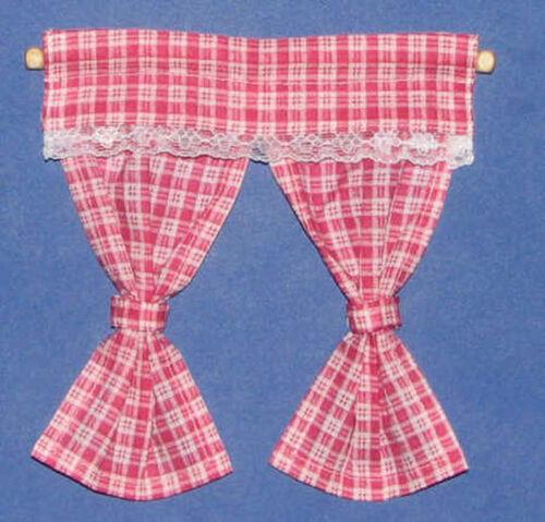 1//12 miniature maison de poupées rose vérifier rideaux rail /& Cuisine Chambre à Coucher Rideaux LGW