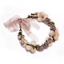 Beach Party Crown Bride Wedding Headband Boho Floral Headdress Flower  Hairband 6241f2dc563