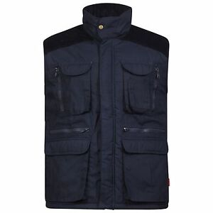 Mens Designer Padded Multi Pocket Gilet Full Zip Work Body-warmer Cord Jacket