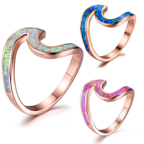 Rose Gold Plated Silver Wave Ocean Style Blue Fire Opal Gemstone Ring Size 6-10