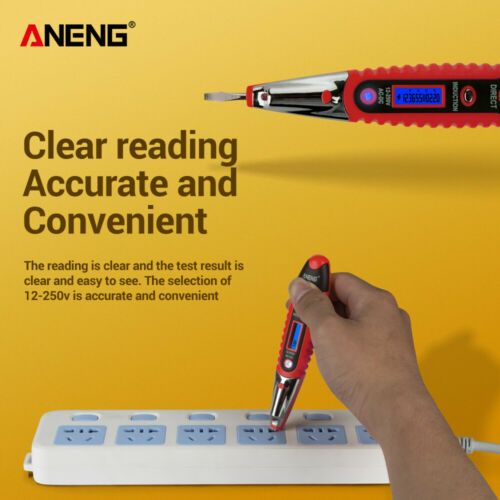 Voltage Digital Detector Tester 12~250V LCD Electric Test Pen AC//DC Non-Contact~