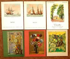 6 Menus INAUGURAL MAIDEN VOYAGE 1962 PAQUBOT FRANCE French Line Ship