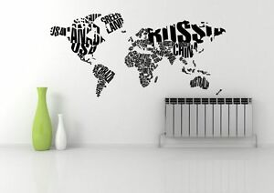 World map atlas quote abstract wall art sticker decal mural image is loading world map atlas quote abstract wall art sticker gumiabroncs Choice Image