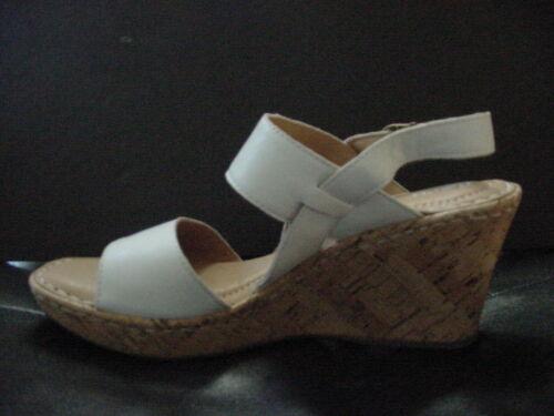Born Women/'s Cherry Sandals White Cork Wedge Ankle Strap Leather Sz 6-11 NIB