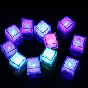5 x led glow ice cubes multiple color lights up toy party bars and