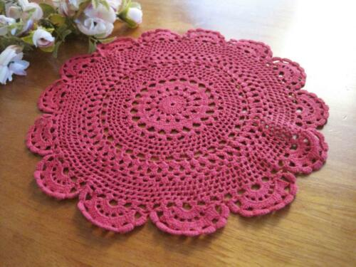 Pretty Chic Hand Crochet Fine Yarn Flower Deep Rose Red Cotton Doily