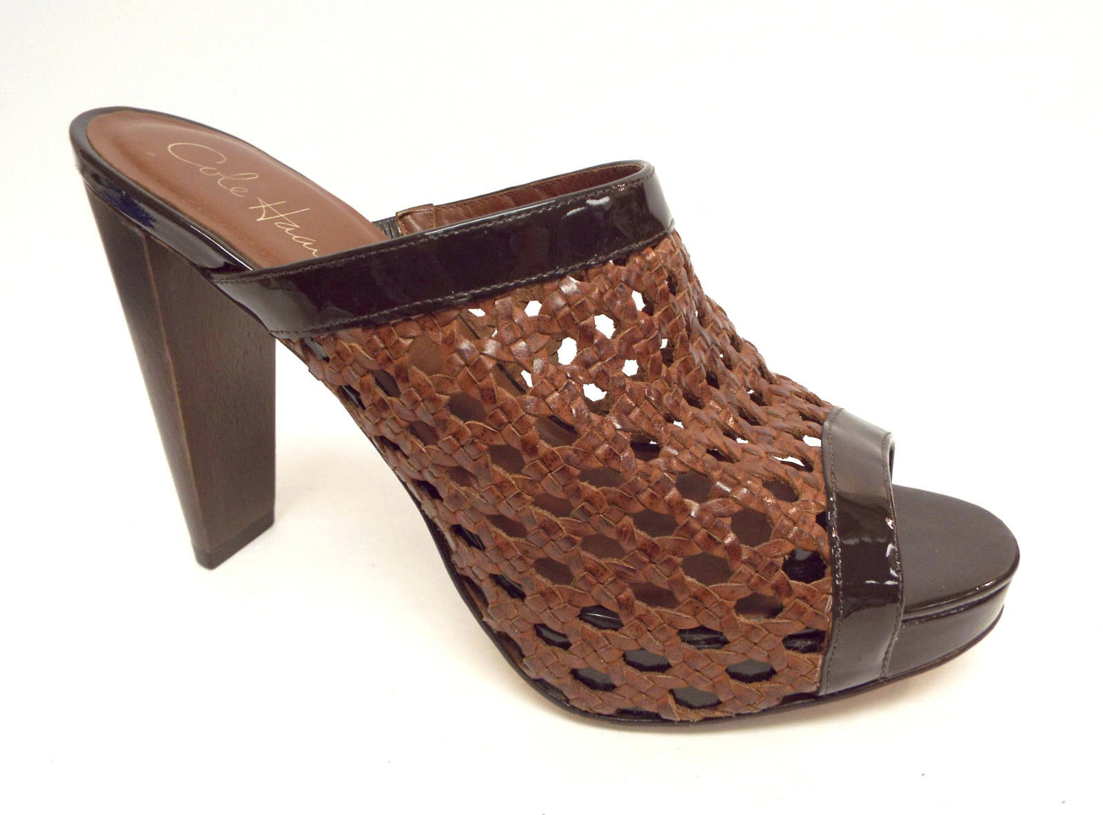 COLE HAAN Brown Size 9.5 Woven Leather Slide Sandals Heels 9 1 2 Pumps shoes