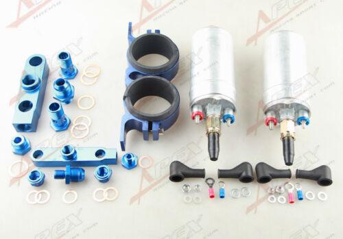 Twin Bosch 044 Fuel Pump Billet Bracket Clamp Assembly Kit Aluminum Blue