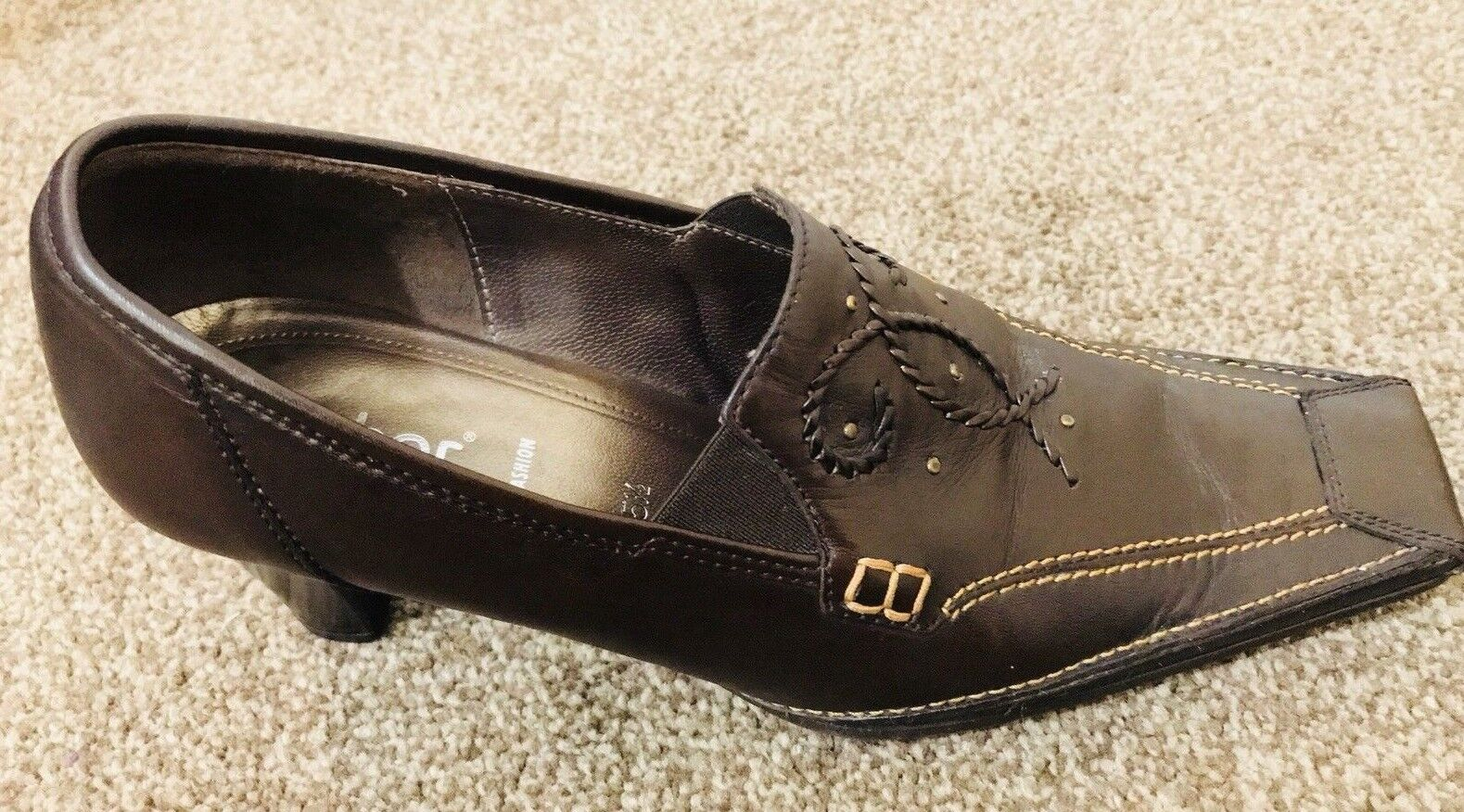 Gabor  Leather Brogue Trouser Court Shoes  Gabor Boots Brown Size 5.5 bbdf35