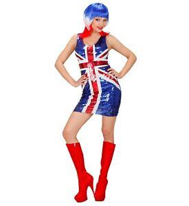 Sexy Partykleid Union Jack mit Pailletten englische Flagge britisch England UK