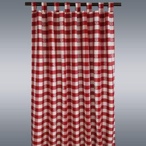 landhaus schlaufenschal karo mit edelwei rot wei kariert vorhang 8 schlaufen ebay. Black Bedroom Furniture Sets. Home Design Ideas