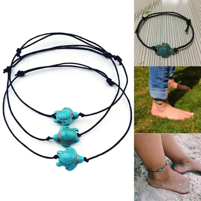 Women Boho Turquoise Turtle Chain Anklet Bracelet Foot Chain Beach Jewelry LJ