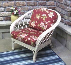 Details About Pacifica Wicker U0026 Rattan Chair U0026 Ottoman   Whitewash