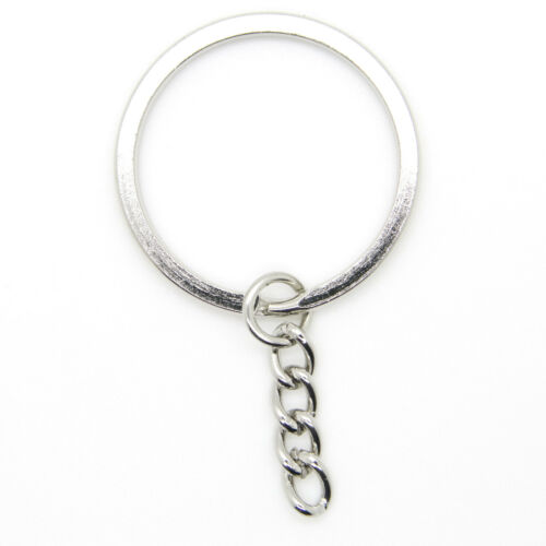 "1000 pcs 32mm 114"" Keychain Split Ring with Extender Chain Keyring Heavy Duty"