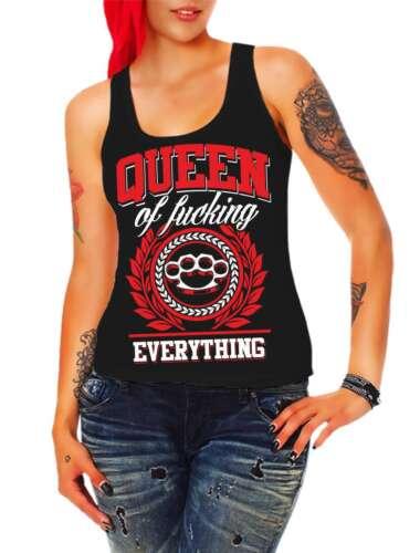 Mädchen Frauen Trägershirt Top Queen of fucking everything Königin Schlagring