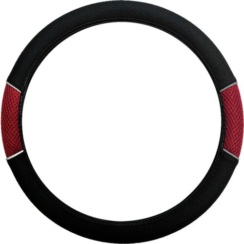 02-12 Black /& Red Cloth Mesh Steering Wheel Cover Leather Look for Ford Fusion