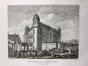 Chantilly en 1789 Paris Révolution Française Rare Gravure d'époque Canons Paris