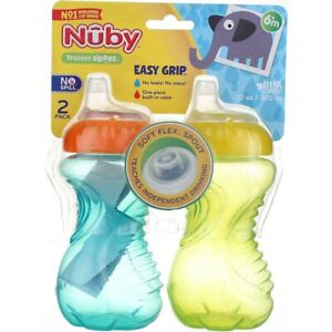 Nuby Easy Grip Sippy Cup, 6m+, 10 oz, 2 Ct
