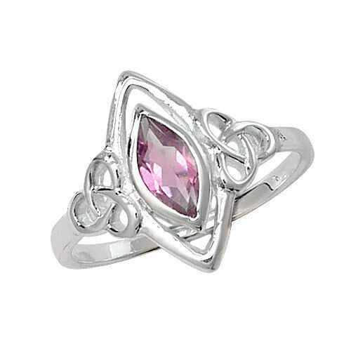 Real Sterling Silver 925 Celtic Amethyst Stone Ring, Diamond Shape Size S