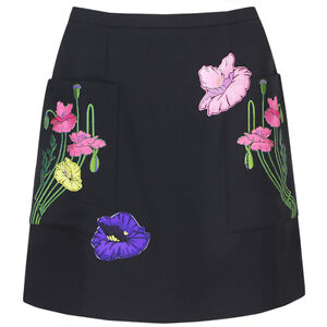Christopher-Kane-Black-Floral-Embroidered-Mini-Skirt-UK10-IT42