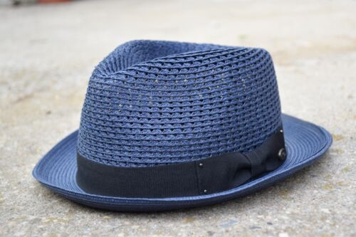 Mens Summer Fedora Hat Poly braid Stingy Brim Crushable /& Breathable EPf2682
