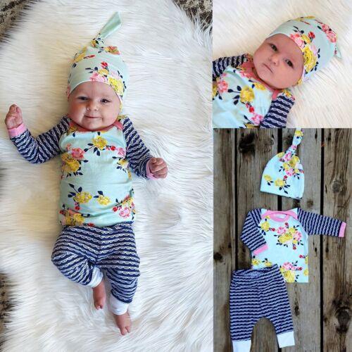 3pcs Newborn Infant Baby Boys Girls T-shirt Tops+Pants+Hat Outfits Clothes Sets
